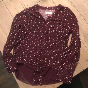 Burgundy floral tie blouse, never worn